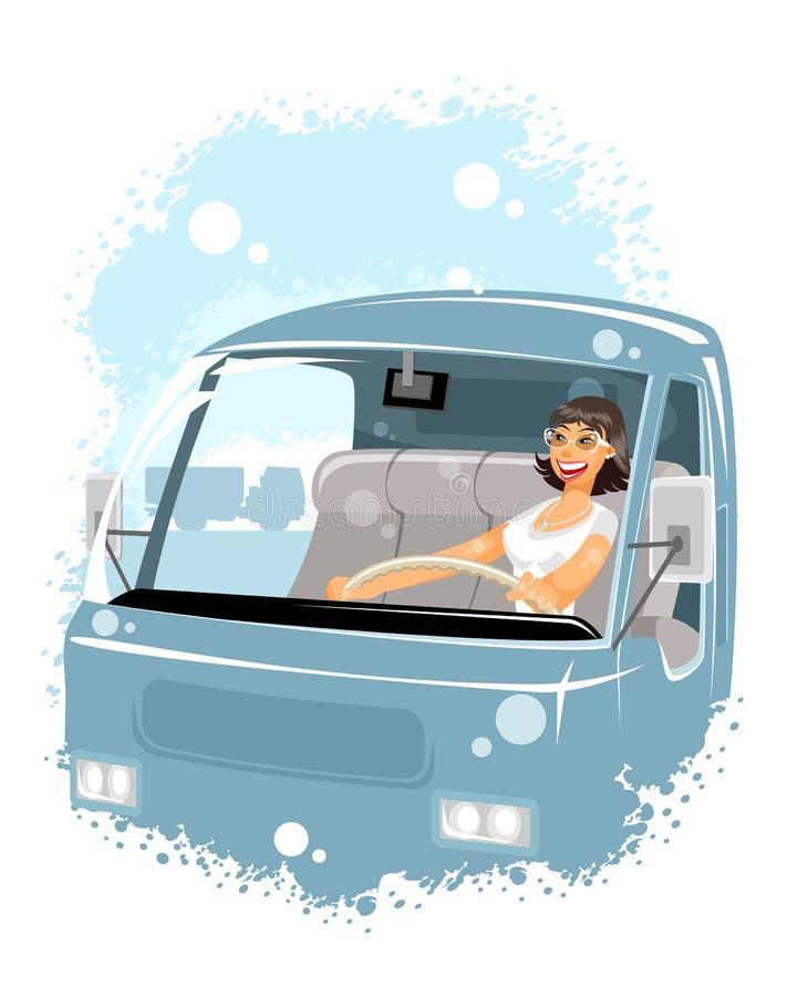 Водитель женщины в автомобиле иллюстрация вектора