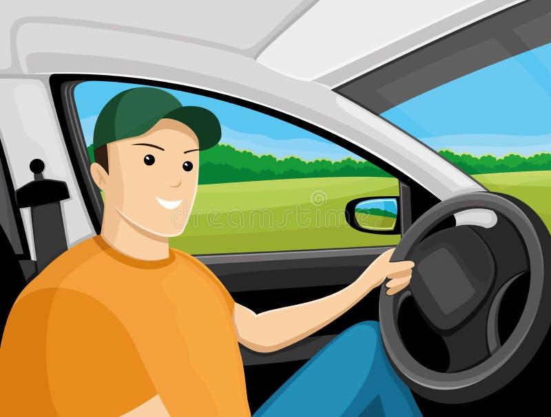 Водитель сидит в автомобиле бесплатная иллюстрация