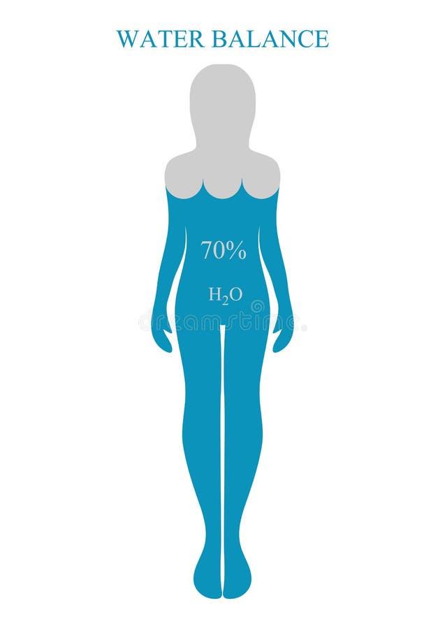 Водный баланс, человеческие силуэты уклад жизни принципиальной схемы здоровый Vec бесплатная иллюстрация