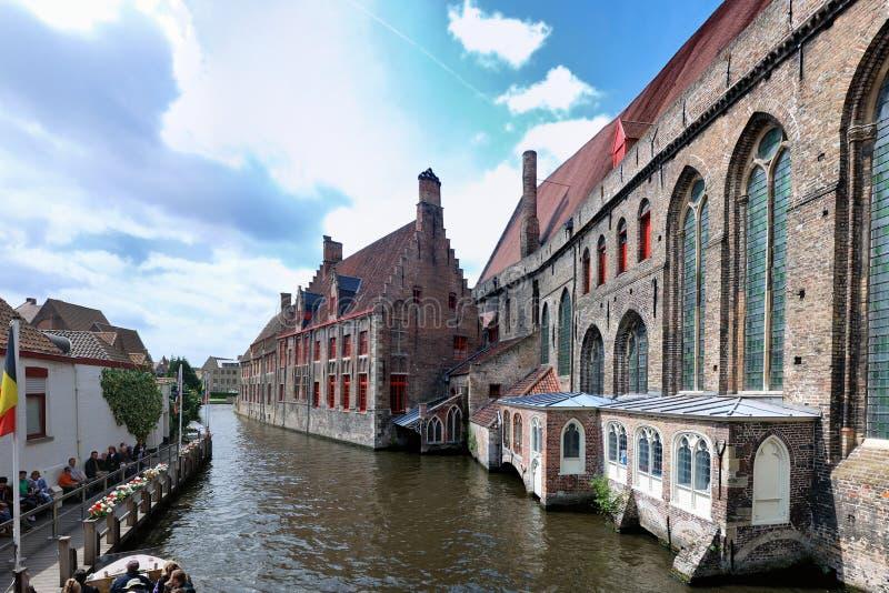 Водный путь Bruges, Бельгии стоковое изображение