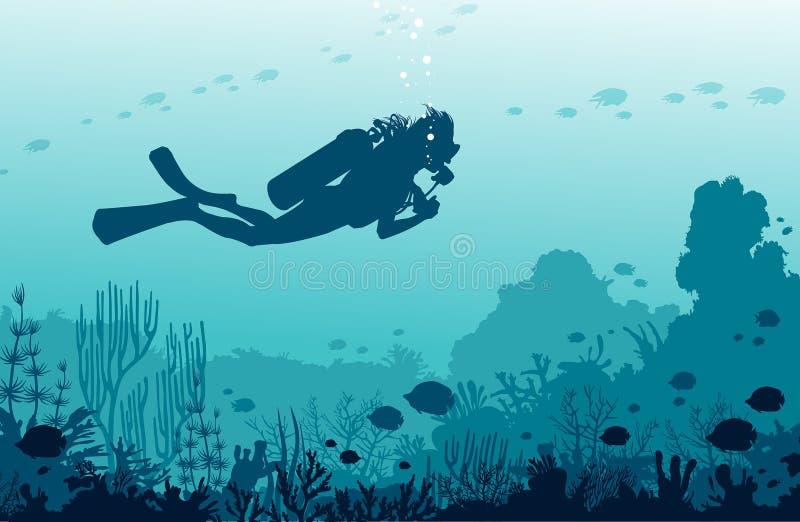 Водолазы акваланга, mantas, коралловый риф, рыбы Подводное wat nad моря стоковое изображение