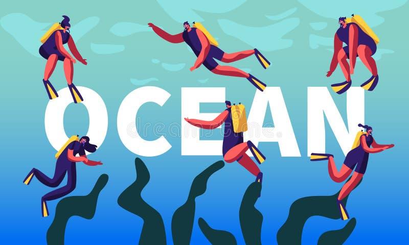 Водолазы в концепции океана Мужчина и женские характеры ныряют развлечения, хобби, плавание, скуба иллюстрация штока