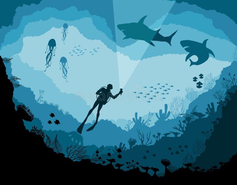 Водолазы и акулы, живая природа рифа подводная иллюстрация вектора