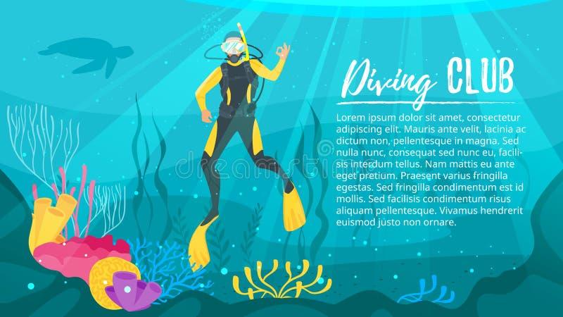 Водолаз акваланга исследует море бесплатная иллюстрация
