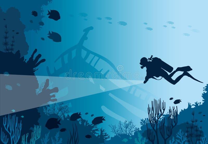 Водолаз акваланга, коралловый риф, море бесплатная иллюстрация