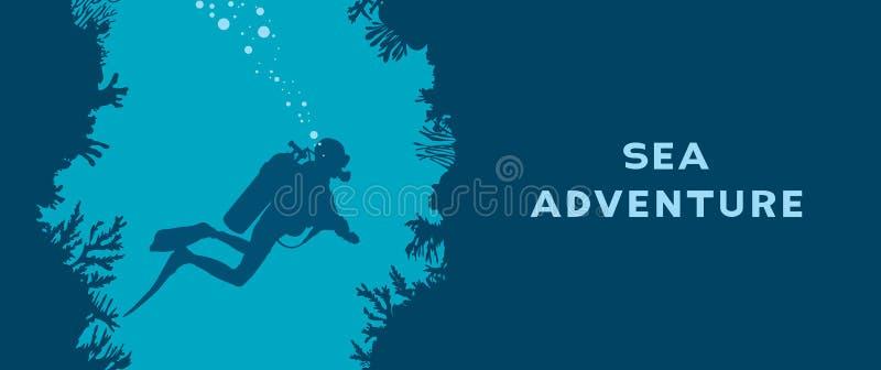 Водолаз акваланга, пещера, коралловый риф иллюстрация вектора