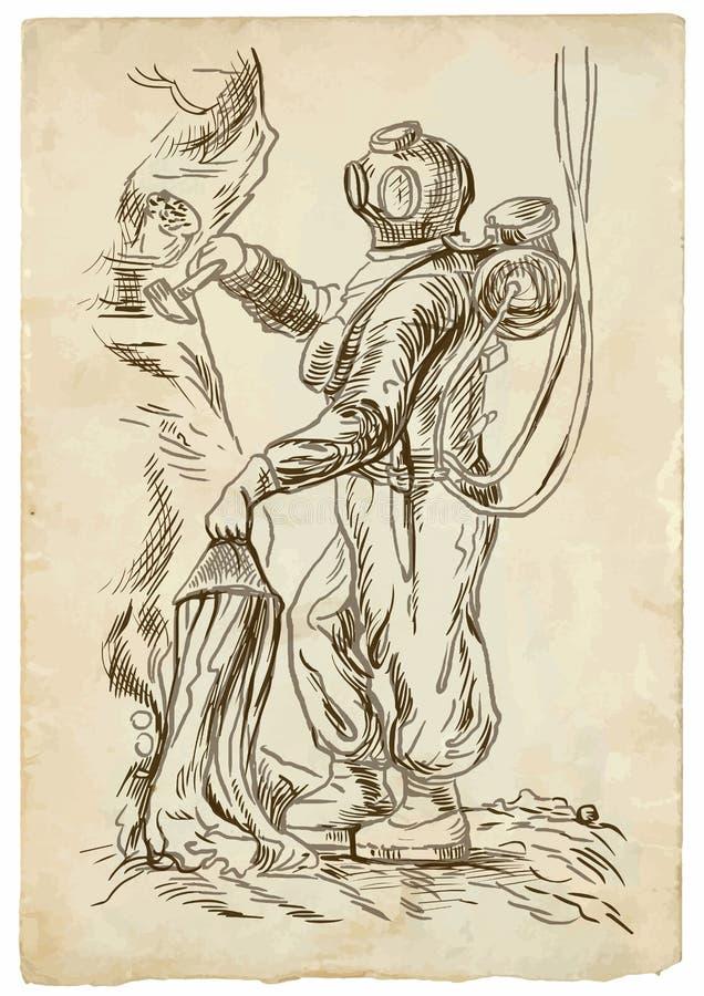 Водолаз - иллюстрация руки вычерченная в винтажном стиле иллюстрация вектора