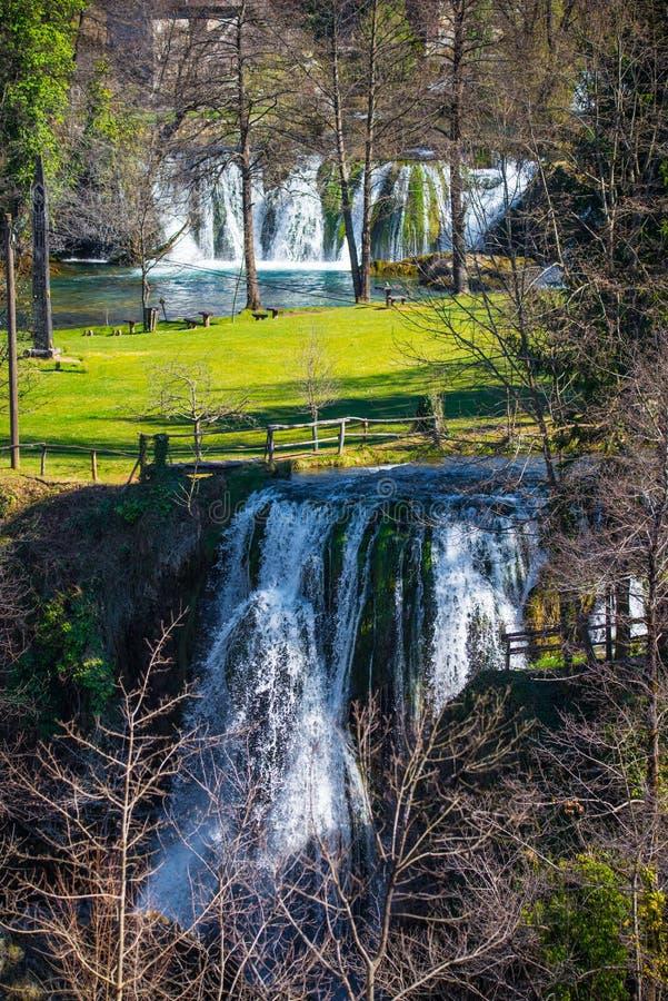 Водопады деревни Rastoke в Хорватии стоковое фото rf
