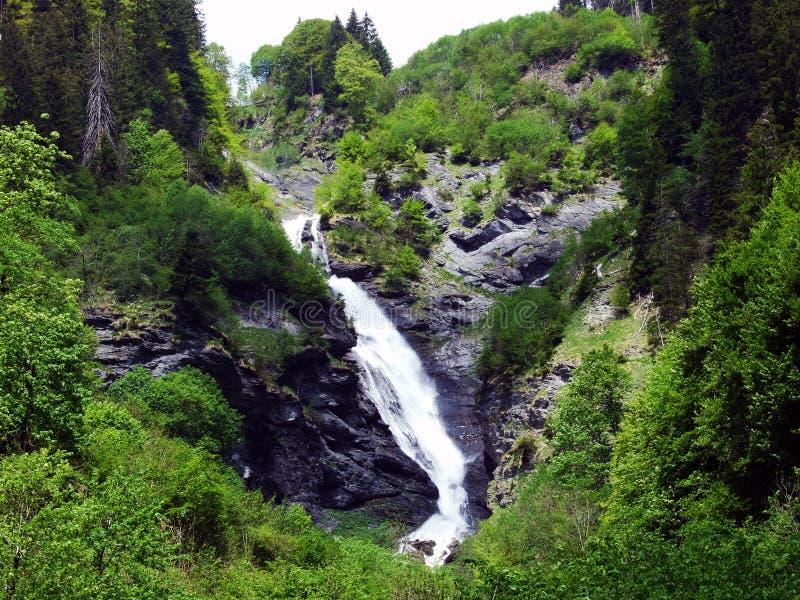 Водопады и каскады в долине Weisstannental стоковое фото rf