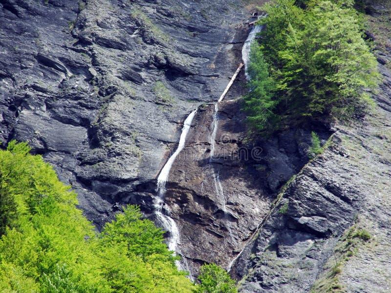 Водопады и каскады в долине Weisstannental стоковое изображение