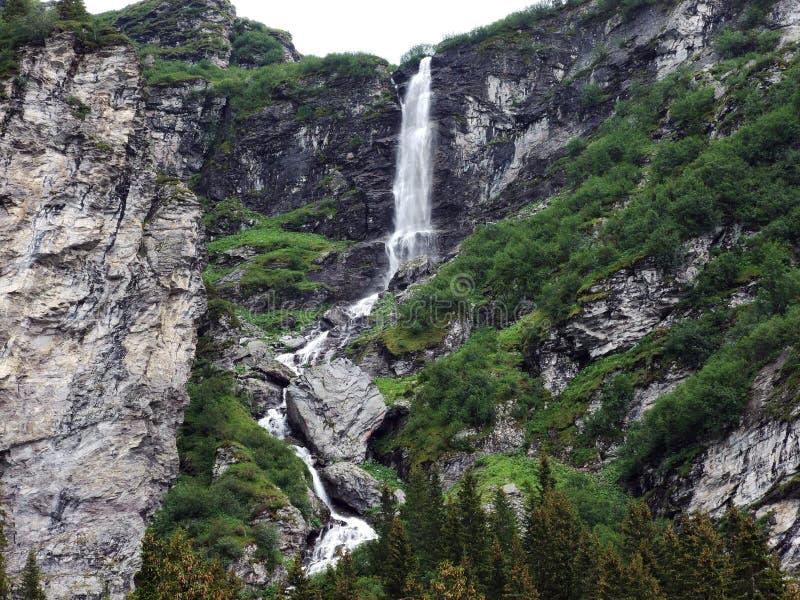 Водопады и каскады в долине Weisstannental стоковые изображения rf
