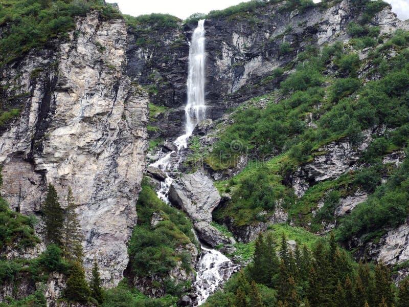 Водопады и каскады в долине Weisstannental стоковые фото