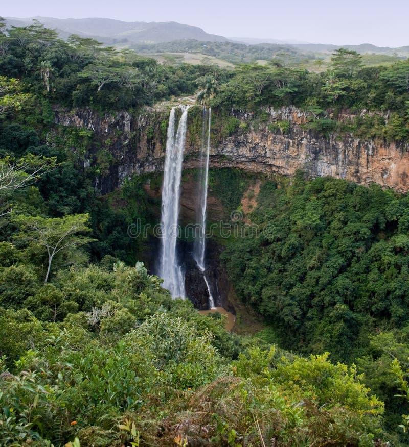водопады Маврикия chamarel стоковое изображение rf