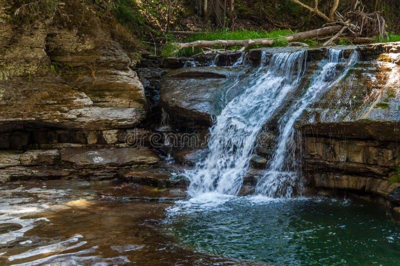 Водопады над утесом сланца в Роберт h Парк штата Treman стоковые фотографии rf