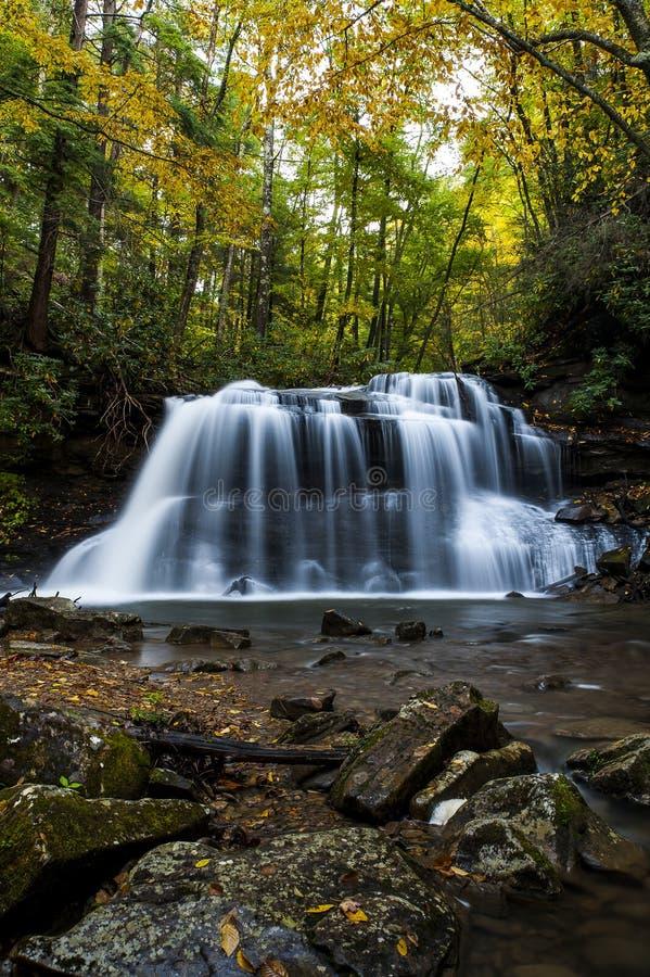 Водопад в осени - верхних падениях заводи бега падения, парка штата реки падуба, Западной Вирджинии стоковая фотография rf