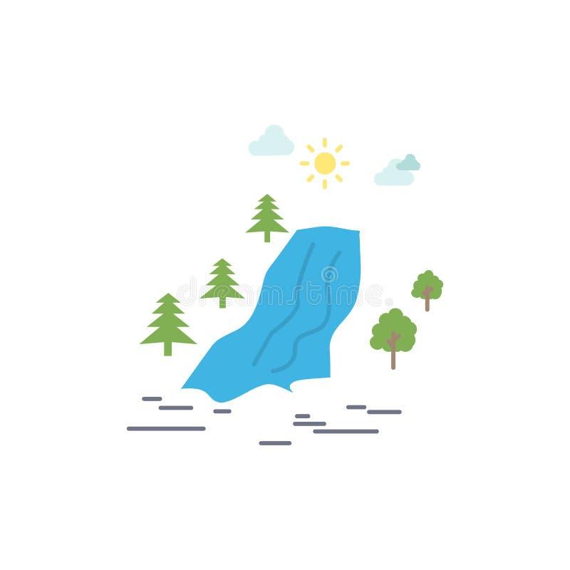 водопад, дерево, боль, облака, вектор значка цвета природы плоский иллюстрация вектора
