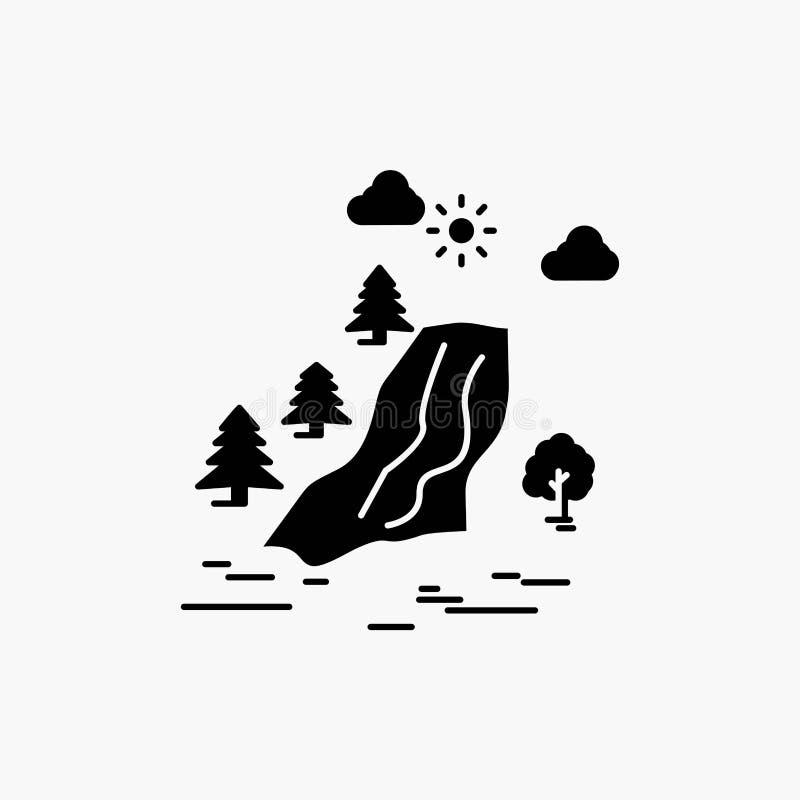 водопад, дерево, боль, облака, значок глифа природы r иллюстрация штока