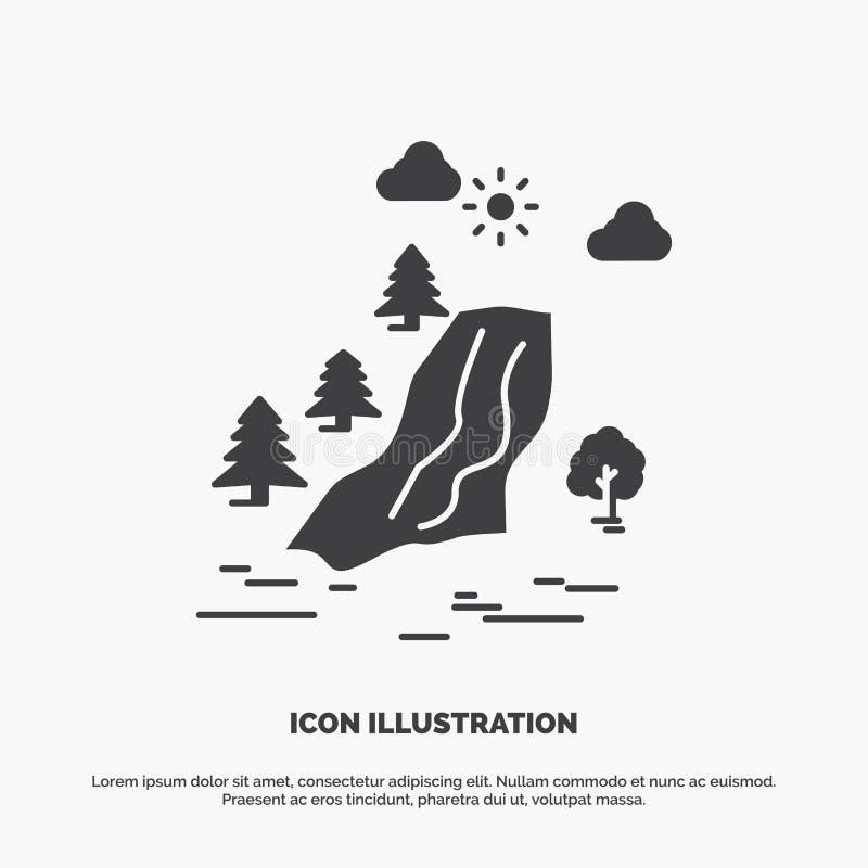 водопад, дерево, боль, облака, значок природы r бесплатная иллюстрация