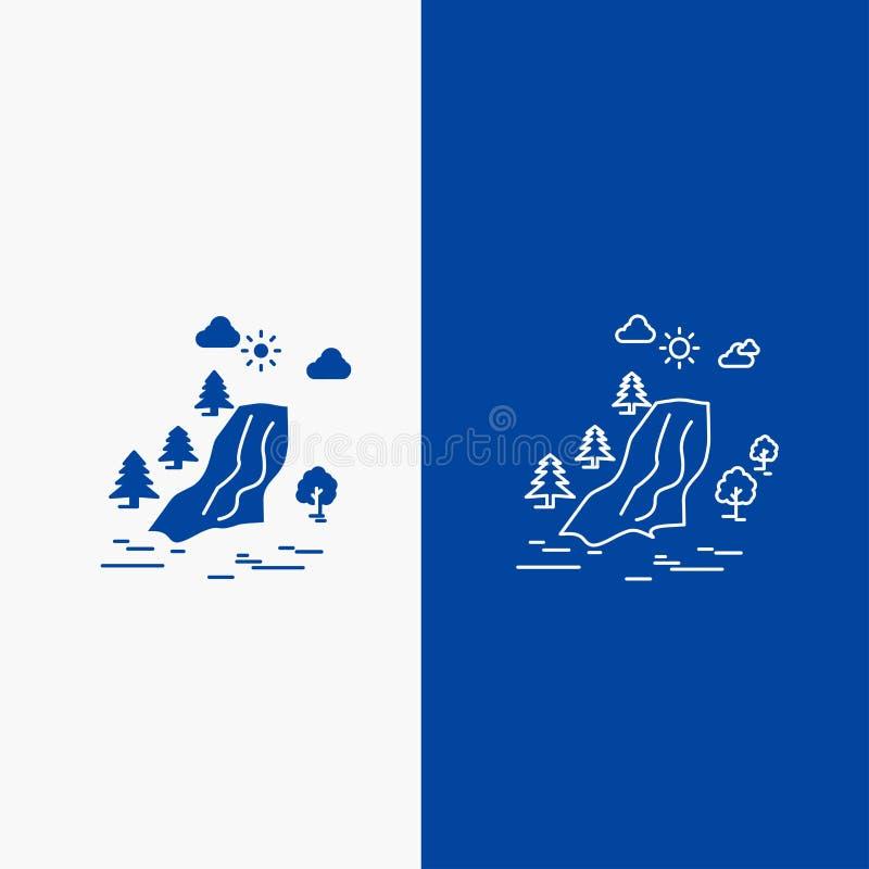 водопад, дерево, боль, облака, кнопка сети линии природы и глифа в знамени голубого цвета вертикальном для UI и UX, вебсайт или ч иллюстрация вектора