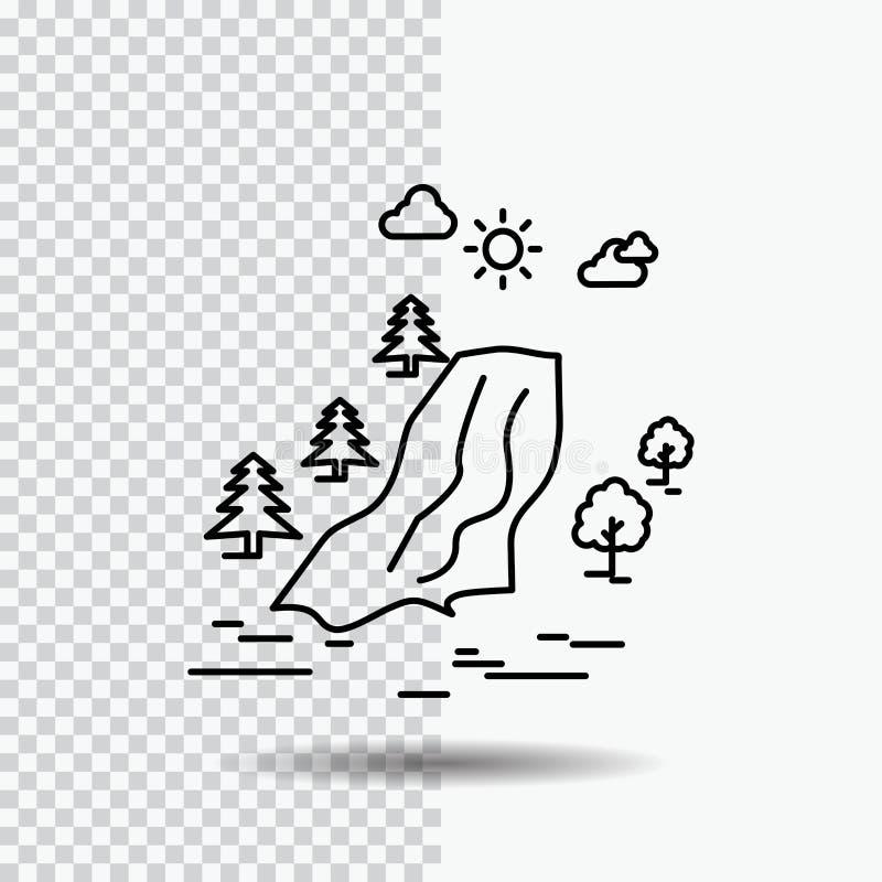 водопад, дерево, боль, облака, линия значок природы на прозрачной предпосылке r иллюстрация вектора