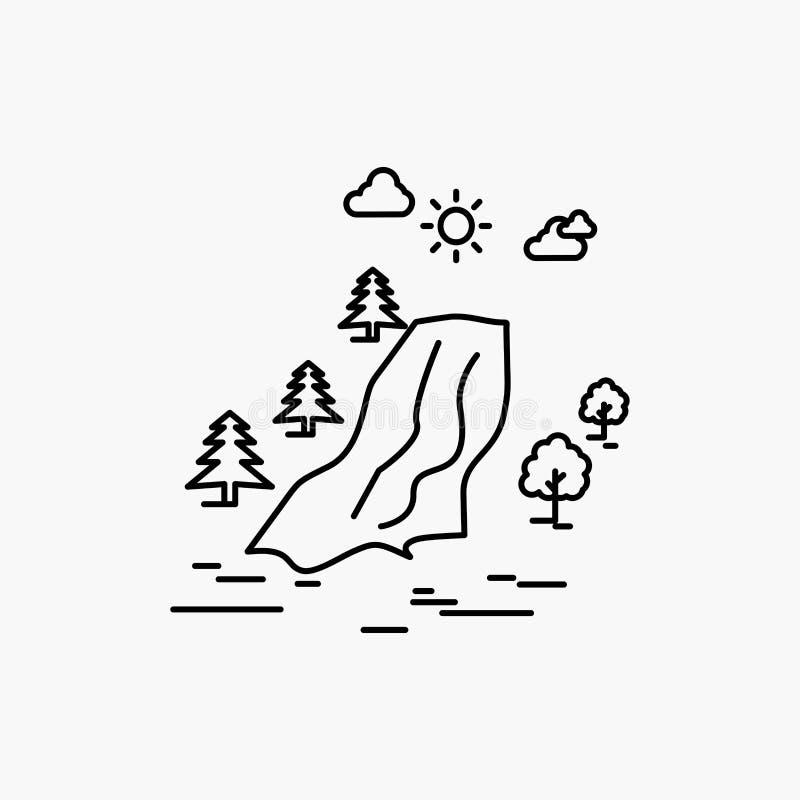 водопад, дерево, боль, облака, линия значок природы r бесплатная иллюстрация