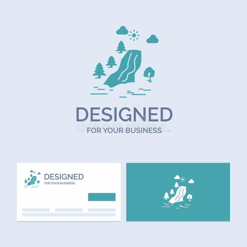 водопад, дерево, боль, облака, символ значка глифа логотипа дела природы для вашего дела r бесплатная иллюстрация