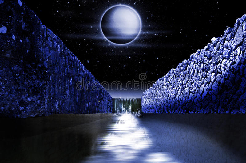 водопад ночи иллюстрация штока