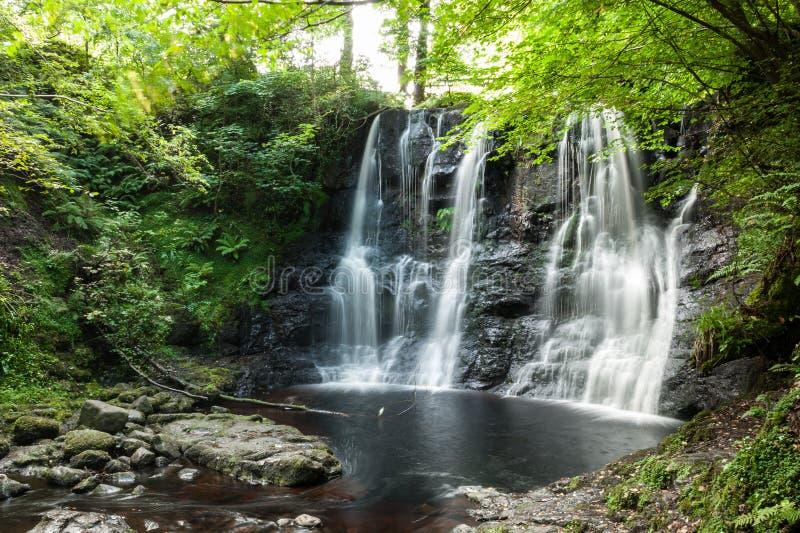 Водопад при малый пруд воды ниже окруженный деревьями и lu стоковые фото