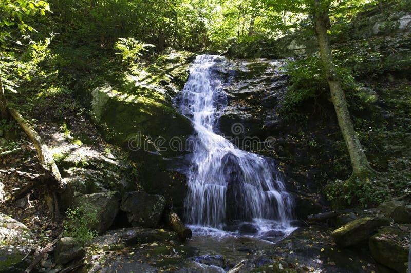 Водопад среди валунов в горах голубого Риджа на падениях Crabtree, Вирджиния стоковые фотографии rf