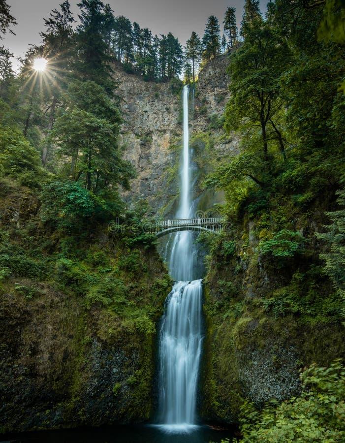 Водопад с мостом стоковое фото rf