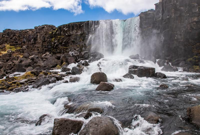Водопад Oxararfoss стоковые изображения