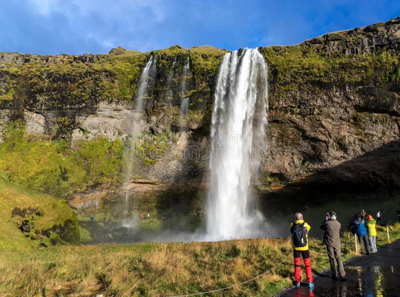 Водопад Seljalandsfoss стоковые изображения