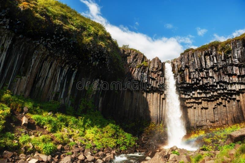 Водопад Svartifoss в национальном парке Skaftafell, южной Исландии стоковое фото rf