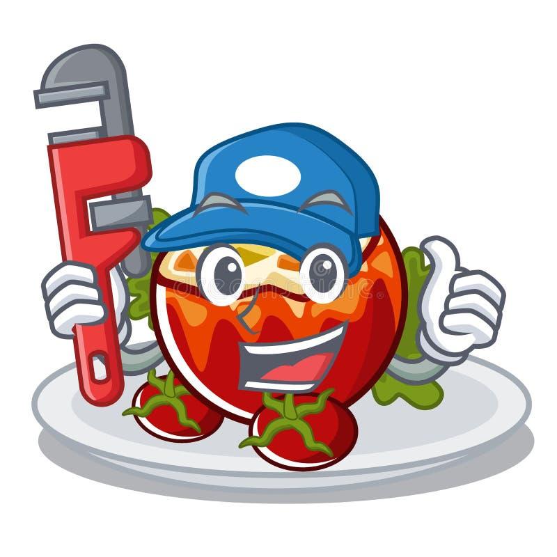 Водопроводчик заполнил томаты в форме мультфильма бесплатная иллюстрация