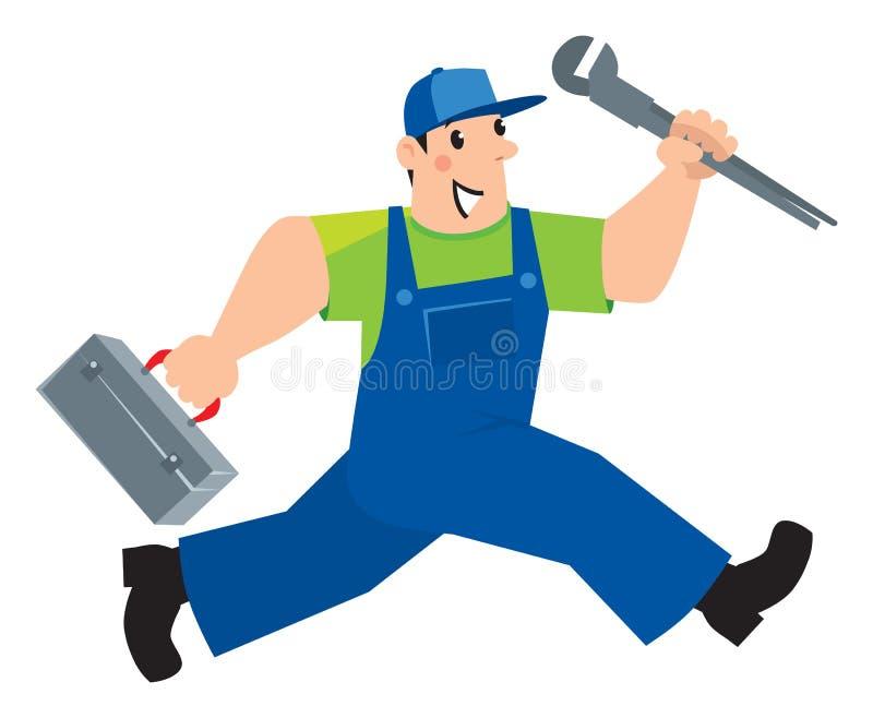 Водопроводчик или ремонтник с инструментами бегут иллюстрация вектора
