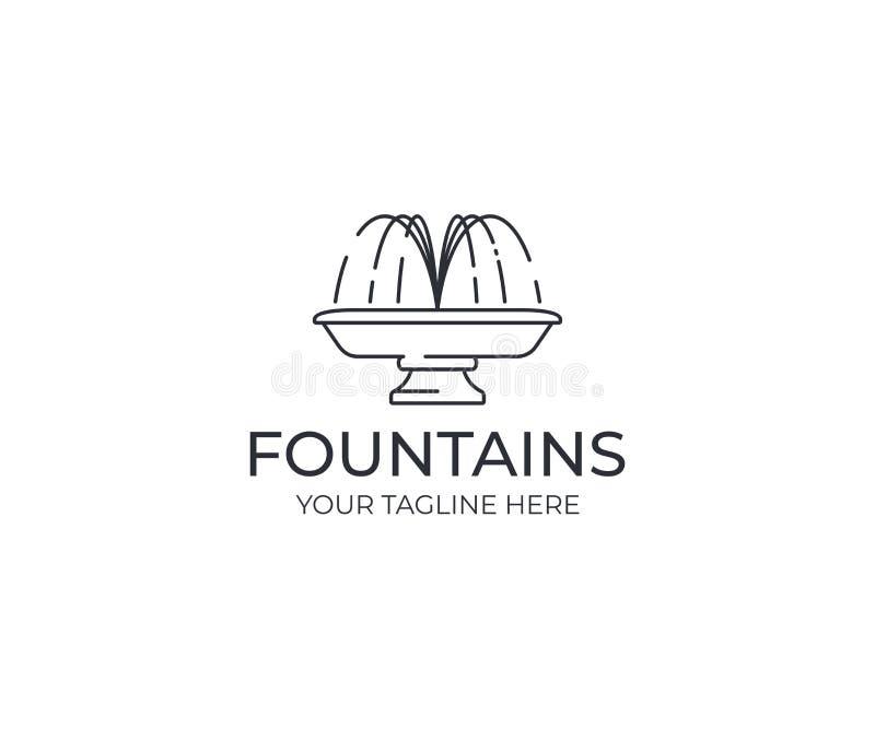 Водоструйный шаблон логотипа фонтана Линейный дизайн вектора силуэта фонтана иллюстрация вектора