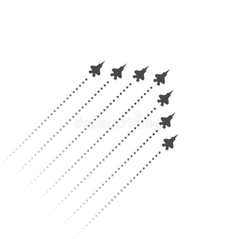 Военная авиация Бойцы летают вверх форма клина реактивных самолетов летания Силуэты реактивных самолетов и трассировка двигателя бесплатная иллюстрация