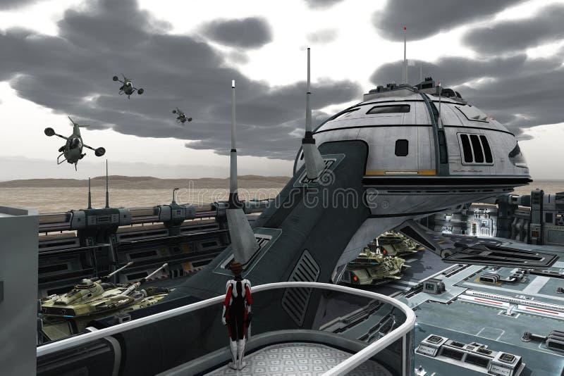 Военная база научной фантастики бесплатная иллюстрация
