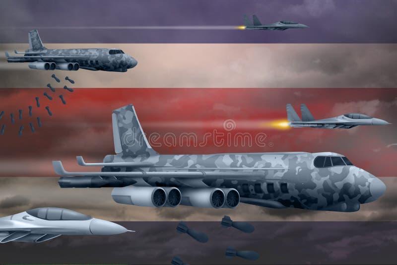 Военновоздушные силы Коста-Рика взрывая концепцию забастовки Самолеты воздуха армии Коста-Рика падают бомбы на предпосылке флага  стоковое изображение rf