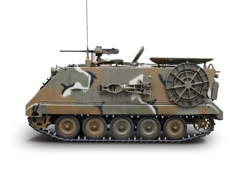 Военное бронированное транспортное средство изолированное на белизне стоковое фото