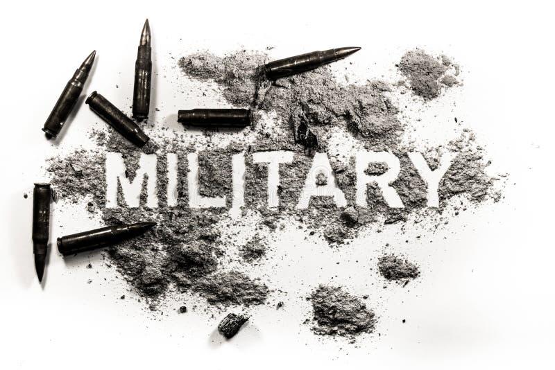 Военное слово написанное в пыли с пулями вокруг стоковые изображения rf