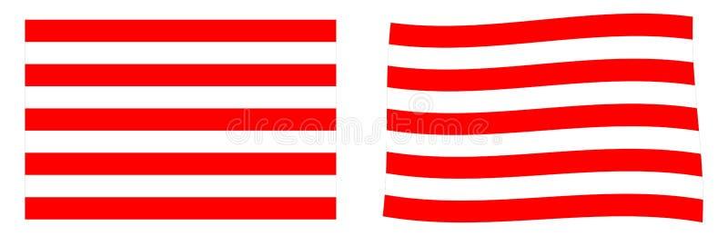 Военноморской поднимите домкратом флага Индонезии Простая и немножко развевая версия иллюстрация штока
