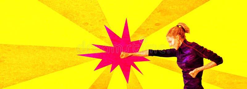 ВОЕННОПЛЕННЫЙ женщина пробивая starburst в стиле супергероя 70s стоковые изображения