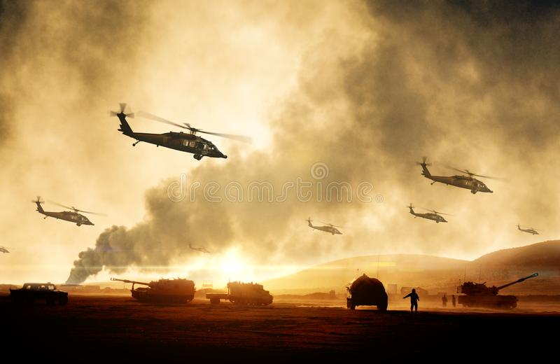 Военные вертолеты, силы и танки в плоскости в войне стоковые фото