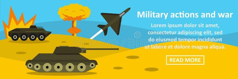 Военные действия и концепция знамени войны горизонтальная иллюстрация штока