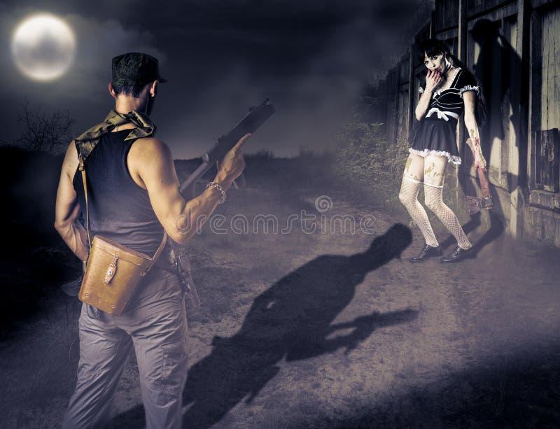 Зомби военного и женщины стоковое изображение rf