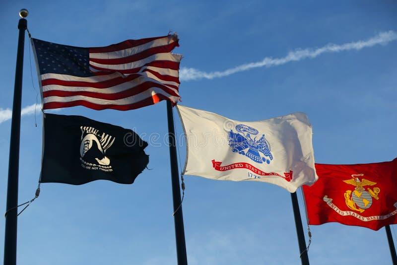 Военные флаги Соединенных Штатов стоковое фото rf