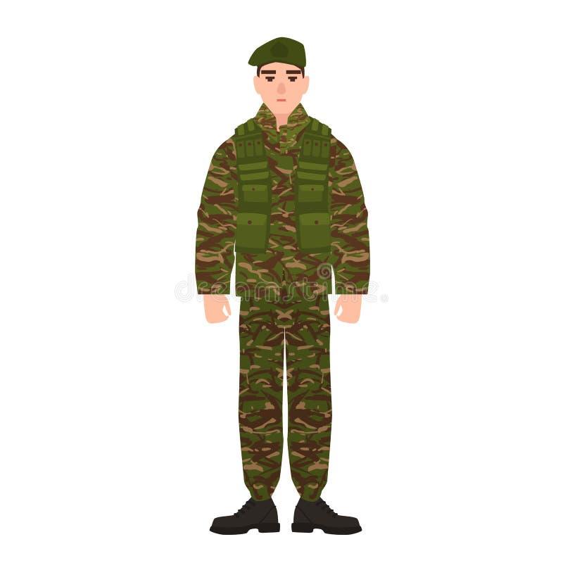 Военный или военнослужащий одетые в камуфляжной форме армии Солдат, лакей или пехотинец изолированные на белизне иллюстрация вектора