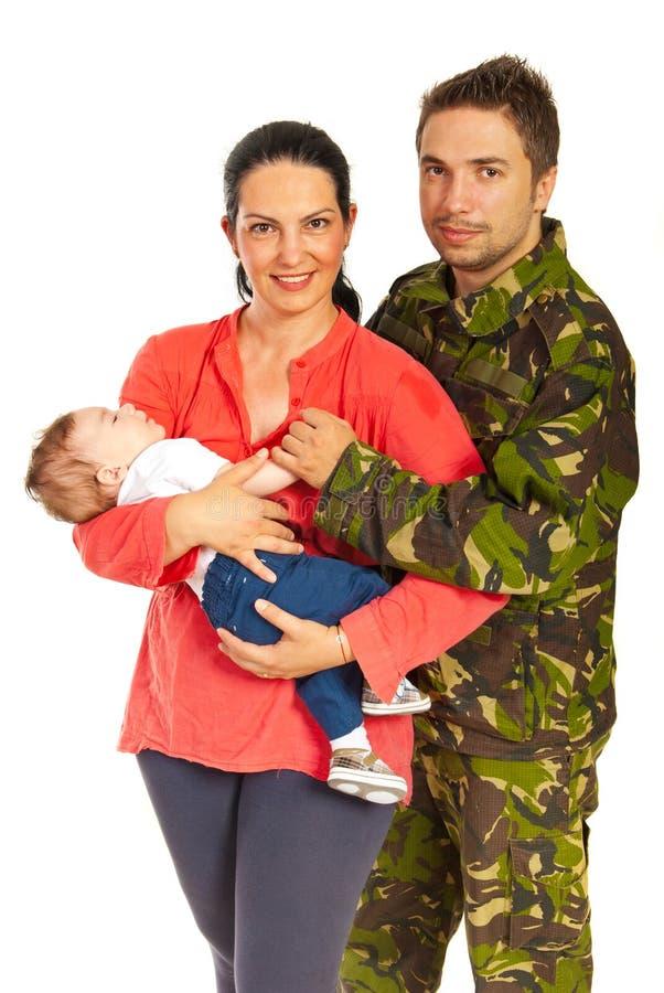 Военный и его семья стоковая фотография rf