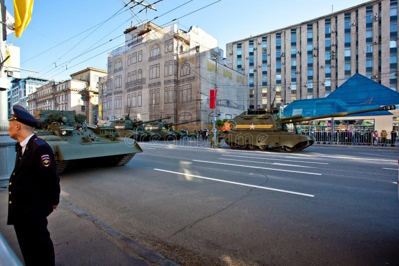 Военный парад в Москве на девятое -го май стоковое изображение rf